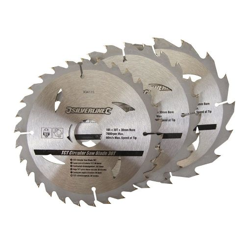 3 Pack Silverline 934115 TCT Circular Saw Blades 16, 24, 30 Teeth 165mm x 30mm